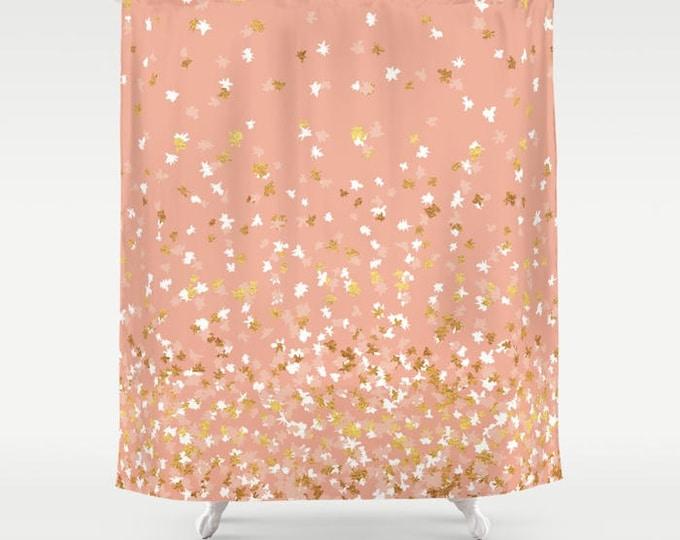"""Shower Curtain - Floating Confetti Dots - Peach White Gold - 71""""x74"""" - Bath Curtain Bathroom Decor Accessories"""