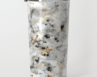 Metal Travel Mug - Classic Marble with Gold Specks - Black White - 20oz - Coffee Tea To Go Commuter Work