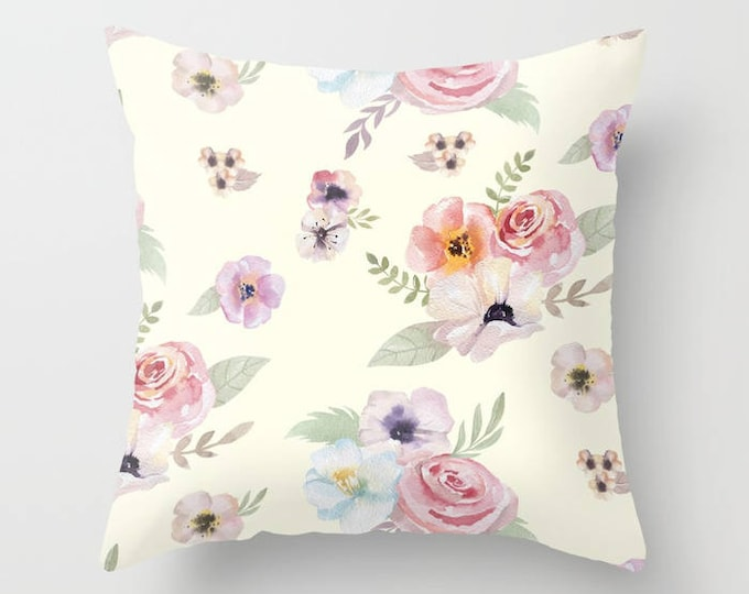Throw Pillow - Watercolor Floral I - Cream Ivory Pink - Square Cover with Insert - 16x16 18x18 20x20 24x24