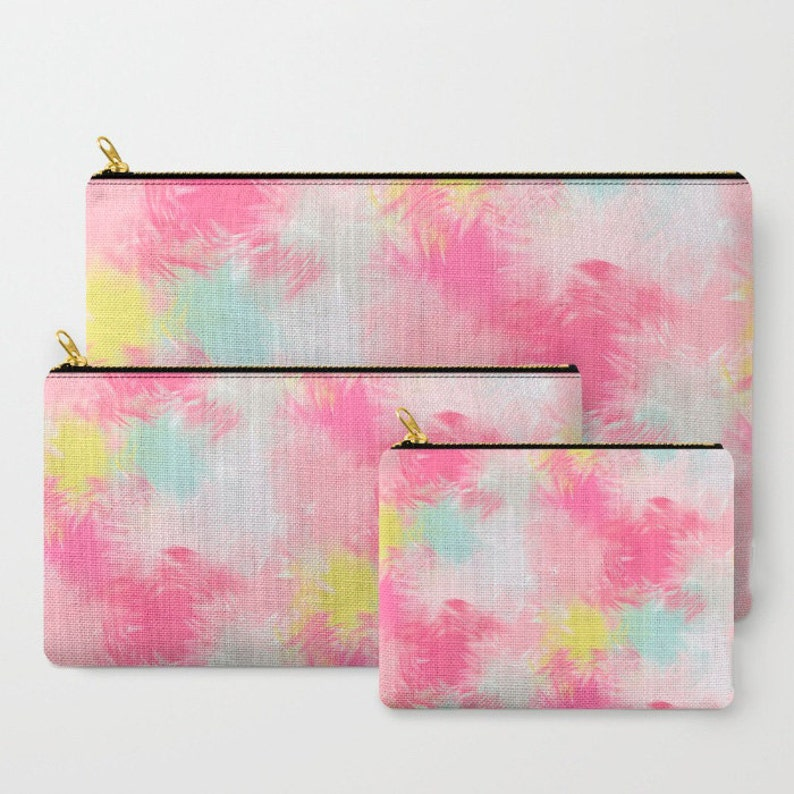 3 Sizes Available Zipper Pouch Pink Yellow Mint Gray Blurred Blend Pattern