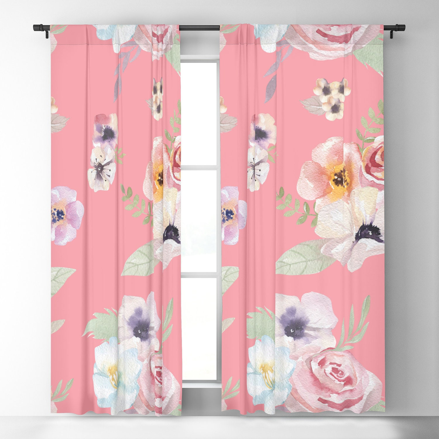 Window Curtains Watercolor Floral I Bright Pink 50 X 84 Or 96 Length Blackout Or Sheer Rod Pocket Bedroom Nursery Playroom