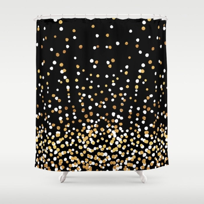 Shower Curtain - Floating Dots - Gold Black and White - 71x74 - Bath