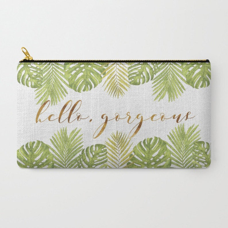 Zipper Pouch Green Gold White 2 Sizes Available Hello Gorgeous Palm Leaves
