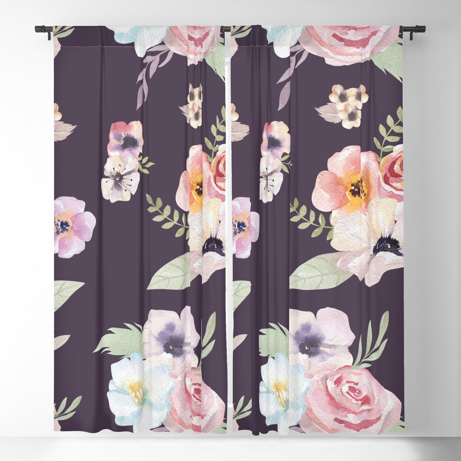 Window Curtains Watercolor Floral I Eggplant Pink 50 X 84 Or 96 Length Blackout Or Sheer Rod Pocket Bedroom Nursery Playroom