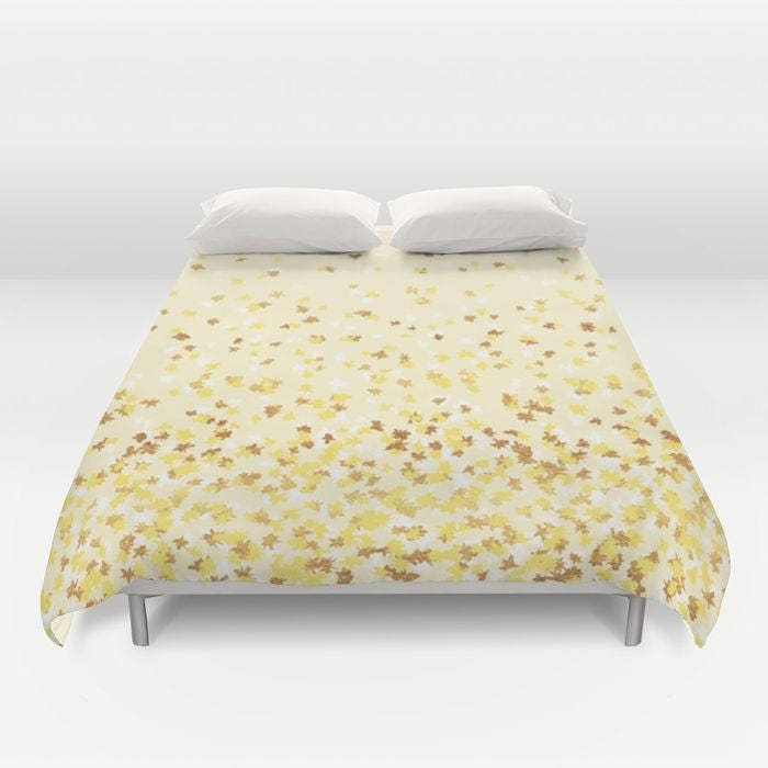 duvet cover or comforter floating confetti dots yellow white gold twin xl full queen or. Black Bedroom Furniture Sets. Home Design Ideas