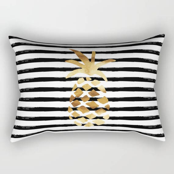 Lumbar Throw Pillow Pineapple And Stripes Gold Black And Etsy