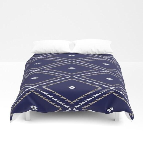 Duvet Cover Or Comforter Navajo Pattern Navy Blue White Etsy