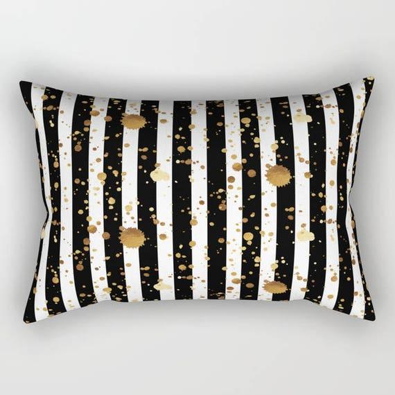 Lumbar Throw Pillow Stripes and Paint