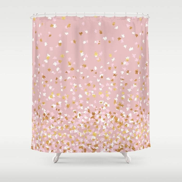 shower curtain floating confetti dots pink blush white goldshower curtain floating confetti dots pink blush white gold 71\