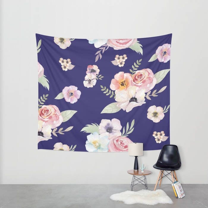 Wall Tapestry Watercolor Floral I Navy Blue Pink Small Medium Or Large Bedroom Decor Accessories Dorm Nursery Playroom