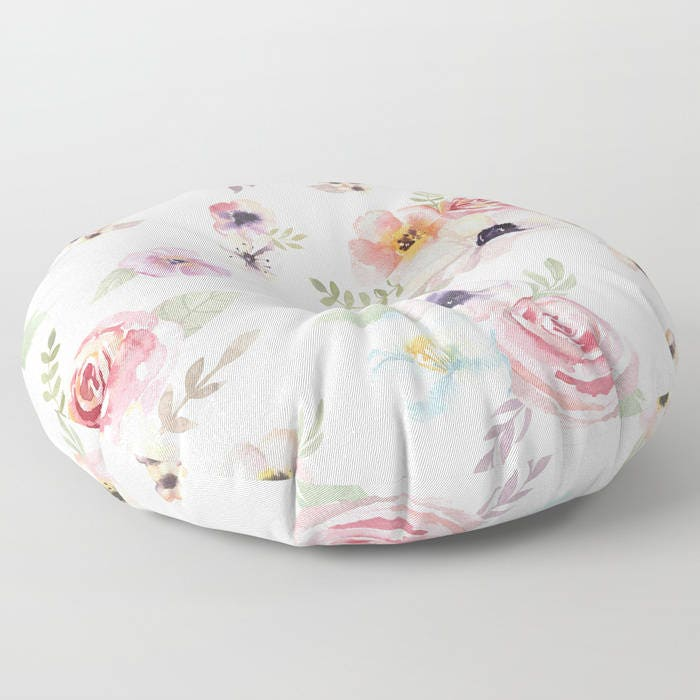 Oversized Floor Pillow - Watercolor Floral I - Cream Ivory Pink ...