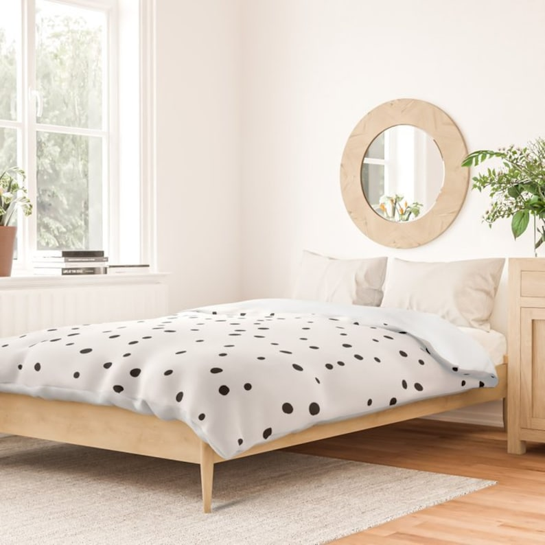 Duvet Cover or Comforter Dalmatian Polka Dots Twin XL Full Queen or King White and Black Microfiber or 100/% Cotton Shams Optional