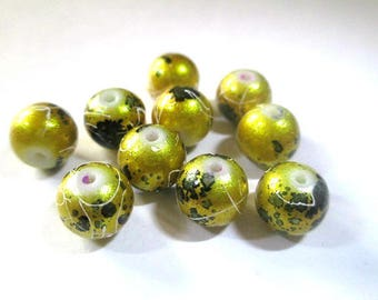 20 drawbench and speckled shiny Golden beads 8mm