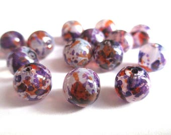 10 painted white speckled purple and orange glass beads 8mm