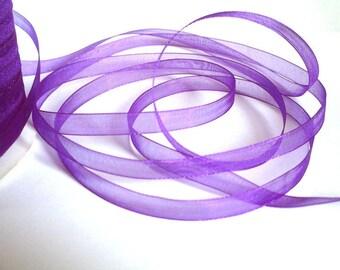 10 m plum 6mm organza Ribbon