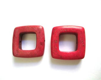2 square 19mm red howlite beads
