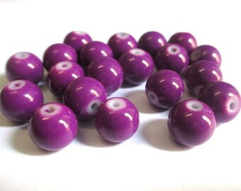 10 purple painted glass 8mm (R-49) beads