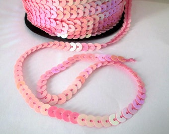 5 m Ribbon (1) 6mm pink sequin trim