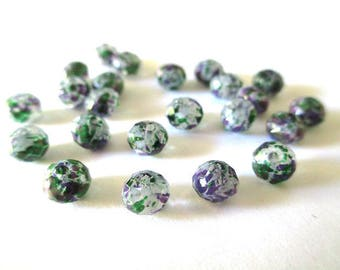10 rondelle beads faceted speckled purple and green glass 6x5mm