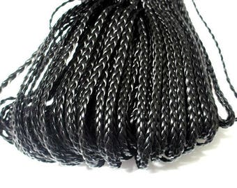1 m of black faux leather braided 5x2mm