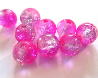 Pink fuchsia and white Crackle Glass 8mm 10 beads