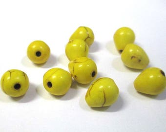 10 drops 10x8mm yellow howlite beads