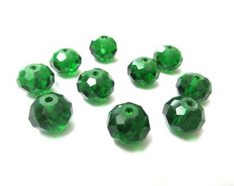 10 faceted rondelle beads 6x8mm glass bottle Green