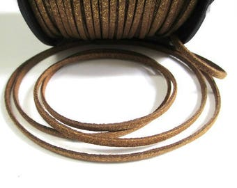 1 m cord Brown glittery gold look suede 3 mm