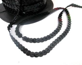 5 m Ribbon 6mm black sequin trim