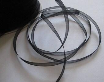 5 m organza Ribbon black 3mm
