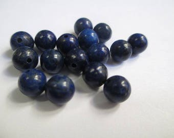 10 pearls lapiz lazuli 6mm (16 G)