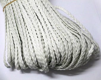 1 m of white faux leather braided 5x2mm