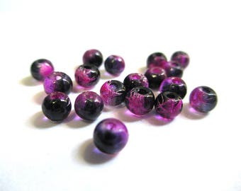 20 drawbench translucent 4mm fuchsia black beads