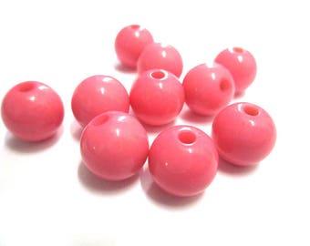 10 12mm pink acrylic beads