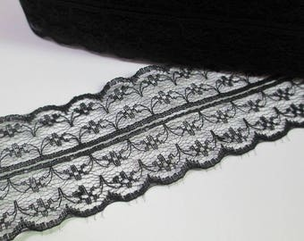 1 meter Ribbon Black Lace thin double 40mm