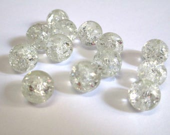 10 white Crackle Glass (S-18) 10mm beads