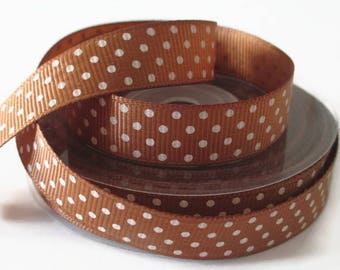 1 meter Ribbon grain brown printed white dots 15 mm