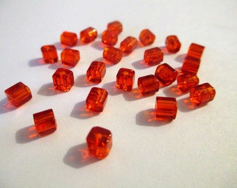20 square red glass beads 4mm
