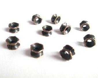 10 pearls separators flower 7 x 5 mm copper
