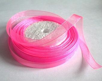 10 m organza Ribbon pink 10mm
