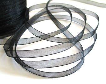 5 m organza Ribbon Black 6mm