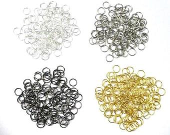 Lot 100 7mm jump rings mixed colors