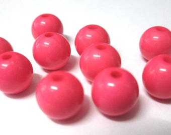 10 10mm pink acrylic beads