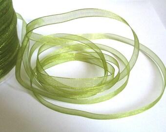 10 m olive 6mm organza Ribbon