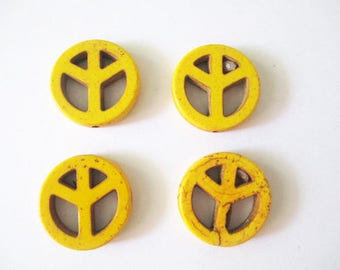 4 beads peace and love 20mm yellow howlite