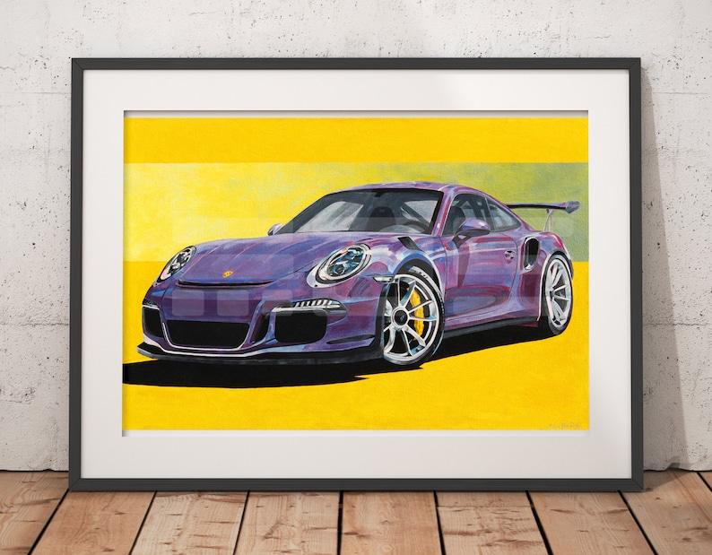 Porsche GT3RS 991 Violet Oil Painting Print