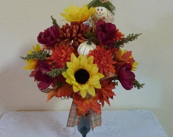 Sunflower Cemetery Flowers with Scarecrow, Fall Cemetery Vase with Scarecrow and Pumpkins
