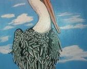 "Original Nautical Coastal Bird Painting for an Ocean-Themed Room- ""Pelican Portrait"""