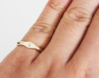 Gold Letter Ring - Initial Ring - Personalised Signet Ring - Tiny Signet Ring - Gold Signet Ring - Engraved Ring - Gold Filled Ring