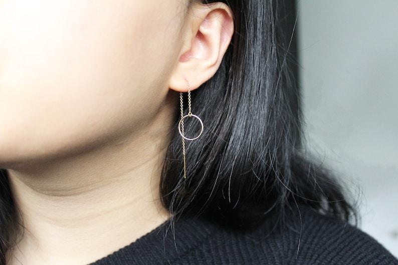 Gold Circle Threader Karma Threader Gold Filled Earrings 14K Gold Earrings Gold Chain Earrings Gold Dangle Earrings  Ring Earrings Delicate